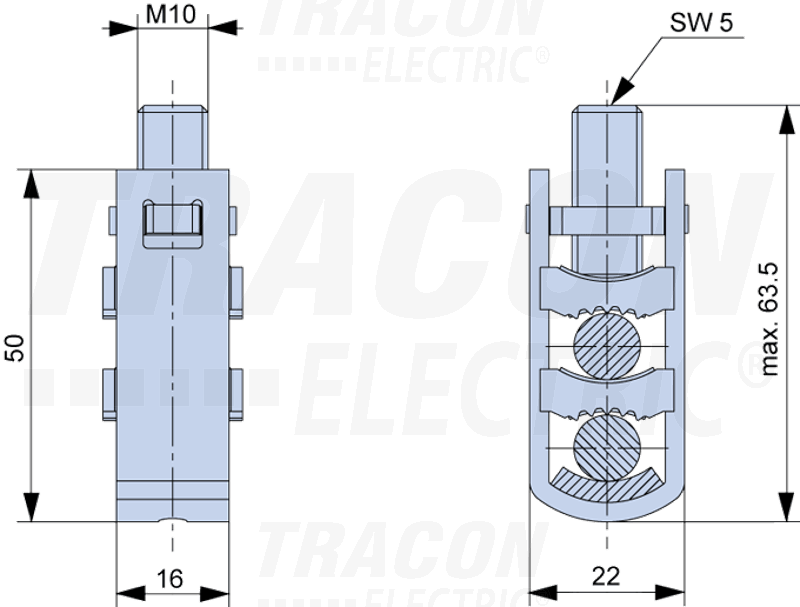 U-Rahmenklemme für Cu/Al Kabel, 2×95/50mm2, U-Typ ...